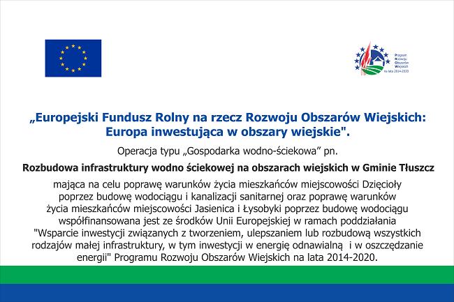 Tablica - Rozbudowa infrastruktury wodno ściekowej na obszarach wiejskich w Gminie Tłuszcz