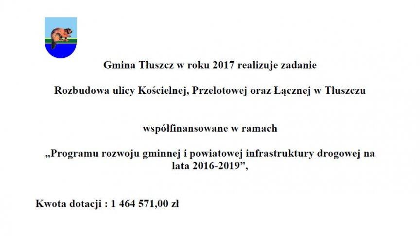 Tablica Programu rozwoju gminnej i powiatowej infrastruktury drogowej na lata 2016-2019